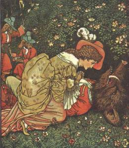 This is one of the more widely recognized illustrations of Beauty and the Beast by Walter Crane.